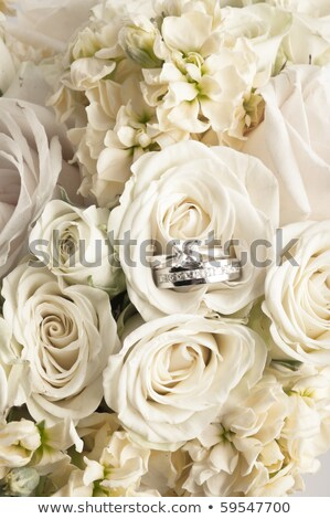close up of two wedding rings and flower bunch Stock photo © dolgachov