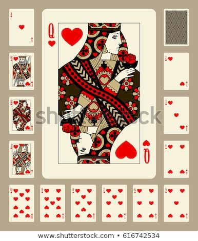 Vintage casino poker hearts card, vector illustration Stock photo © carodi