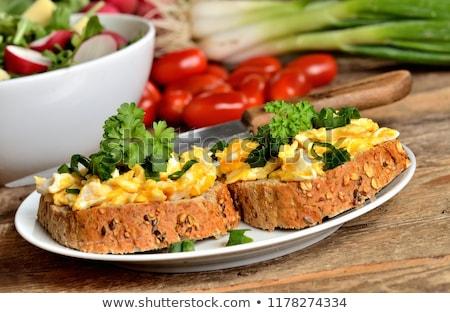 Rántotta pirítós friss saláta fészek levelek Stock fotó © Digifoodstock