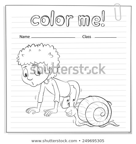 A color me worksheet with a kid and a snail Stock photo © bluering