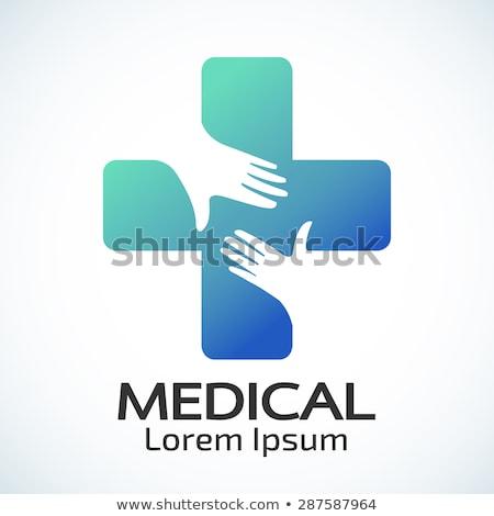 Vektor logo orvosi kereszt gyógyszer gyógyszertár Stock fotó © butenkow
