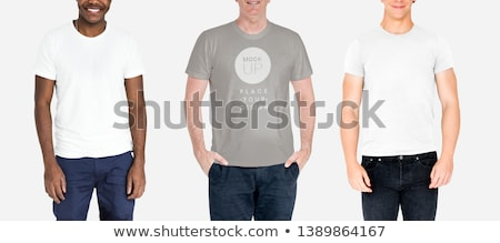 Lezser férfi farmer nadrág fehér póló Stock fotó © stevanovicigor