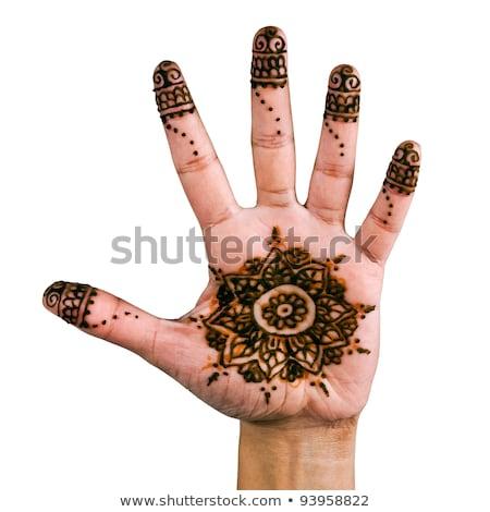 Nedves henna kéz gyönyörű terv muszlim Stock fotó © lubavnel