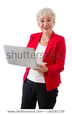 女性 赤 ブレザー 実例 白 モデル ストックフォト © bluering