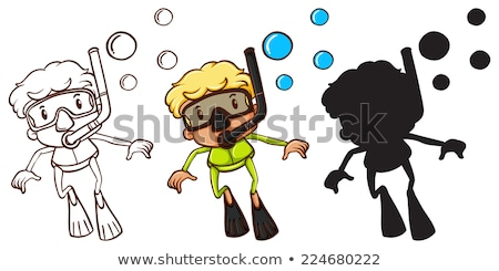 Sketches of a boy snorkeling in three different colors Stock photo © bluering