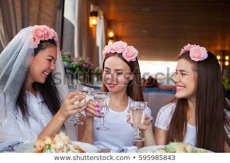 Gruppo donne champagne gallina party tre Foto d'archivio © Yatsenko