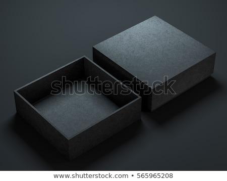 Nyitva kartondoboz fekete 3d illusztráció táska fehér Stock fotó © tussik
