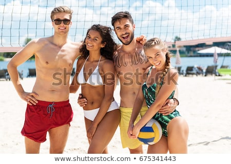 praia · voleibol · jogador · bola - foto stock © rastudio