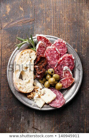 salami,bread and olives Stock photo © M-studio
