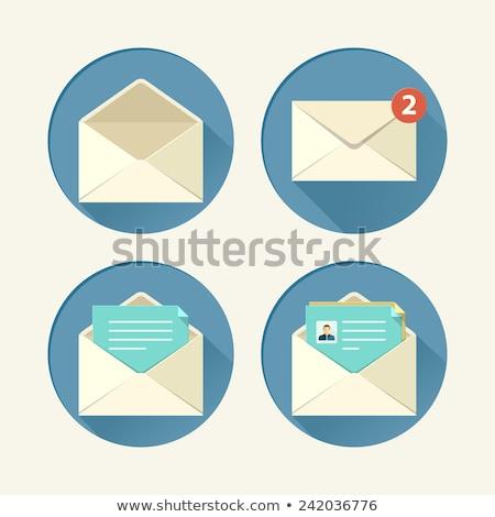 white envelope icon flat style stock photo © ylivdesign