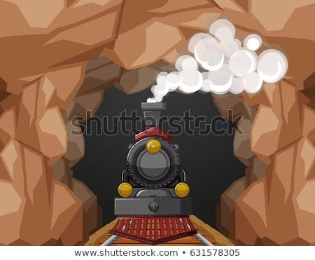 Vonat barlang illusztráció háttér művészet kő Stock fotó © bluering