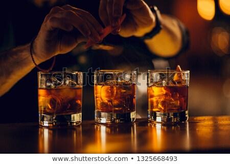 Tres cócteles dos gafas martini rojo Foto stock © alex_l