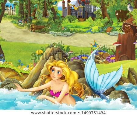 Genç deniz kızı kıyı vektör karikatür örnek Stok fotoğraf © ddraw