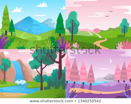 сцена деревья водопада иллюстрация воды лес Сток-фото © bluering