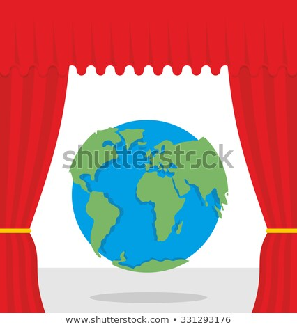 World scene. Red curtain opens Earth. Theatrical presentation by Stock photo © popaukropa