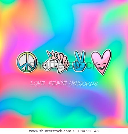 Stock photo: Cute emoji patches badge, love peace unicorn stickers, vector
