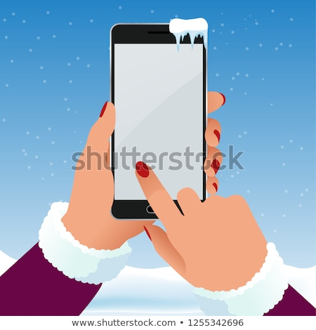 Hands in mittens hold phone. Winter gloves and gadget. Vector il Stock photo © MaryValery