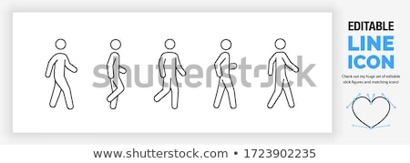 Nordic walking - cartoon people character isolated illustration Stock photo © Decorwithme