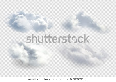 Set of beautiful clouds isolated on white background. Vector cartoon close-up illustration. Stock photo © Lady-Luck