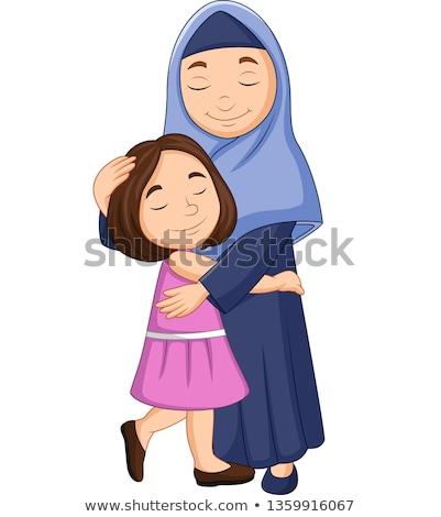 Muszlim anya ölel fiú illusztráció gyermek Stock fotó © artisticco