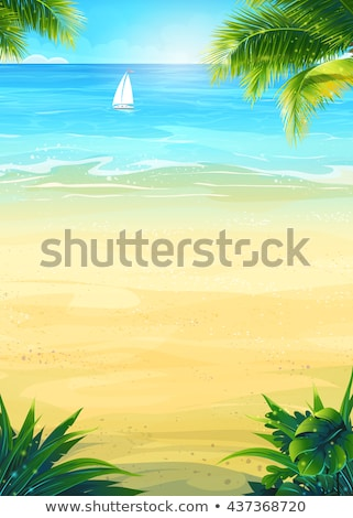 Hot Summer Banner with Tropical Palm Trees, Yacht Stock photo © robuart