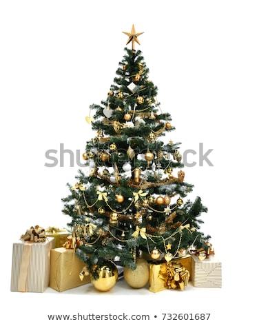 karácsonyfa · díszített · golyók · hópelyhek · karácsony · új · év - stock fotó © heliburcka