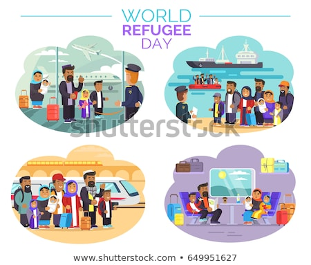 Refugees Airport and Ship Vector Illustration Stock photo © robuart