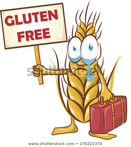 Brood cartoon glutenvrij cartoon mascotte achtergrond teken Stockfoto © doomko