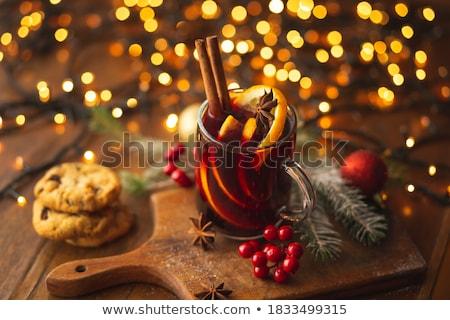 クリスマス ホットドリンク ガラス 木製 ワイン 赤 ストックフォト © grafvision