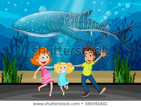 Famille baleine aquarium illustration femme homme Photo stock © colematt
