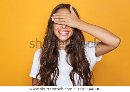 Afbeelding opgewonden vrouw 20s lang haar glimlachend Stockfoto © deandrobot