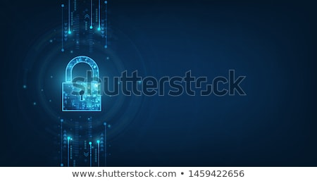 internet technology cyber security data concept with binary digits and shield lock colorful backgrou stock photo © kyryloff