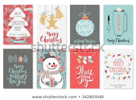 christmas and new year cute hand drawn card set stock photo © cienpies