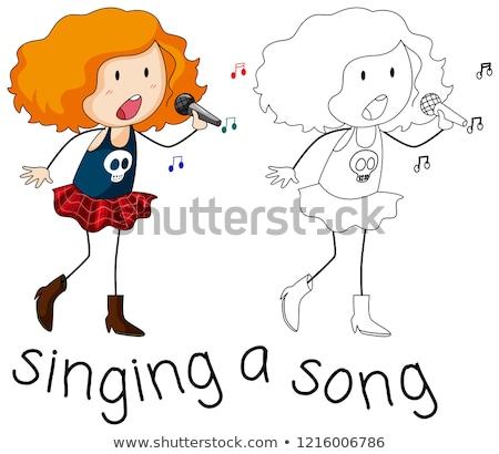 Piosenkarka charakter biały muzyki dziewczyna projektu Zdjęcia stock © colematt