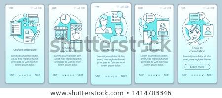 Użytkownik przewodnik app interfejs szablon patrząc Zdjęcia stock © RAStudio