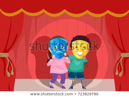 Stickman Kids Theater Sad Happy Mask Illustration Stock photo © lenm