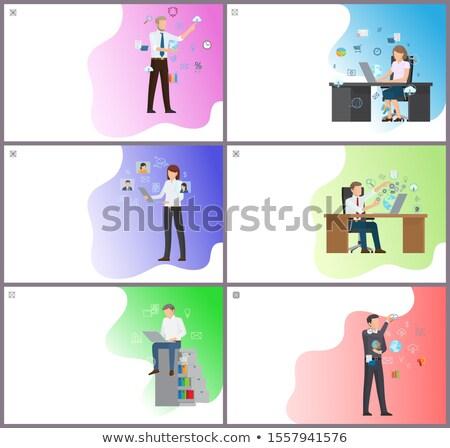 kantoorwerk · posters · ingesteld · zakenlieden · man · vrouw - stockfoto © robuart