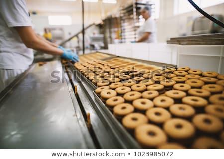 Foto stock: Bolinhos · fábrica · roupa · trabalhando · comida · indústria