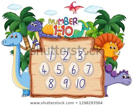 Aantal tien dinosaurus glimlach hout onderwijs Stockfoto © colematt