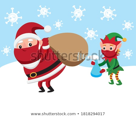 Merry Christmas Card with Santa Claus and Elf Stock photo © robuart