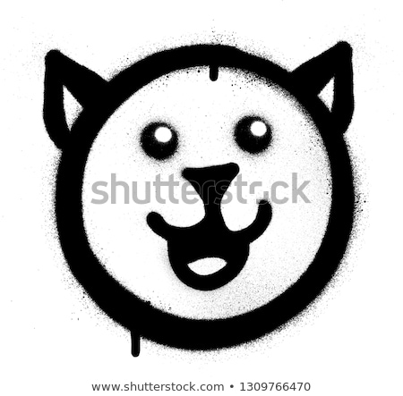 graffiti happy cat sprayed in black over white Stock photo © Melvin07