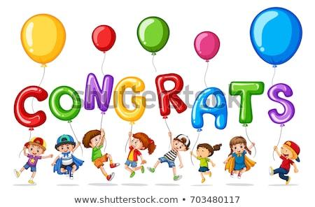 Girl and boy with balloon word congrats Stock photo © colematt