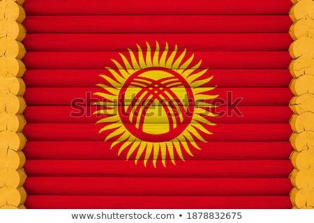 Huis vlag Kirgizië rij witte huizen Stockfoto © MikhailMishchenko