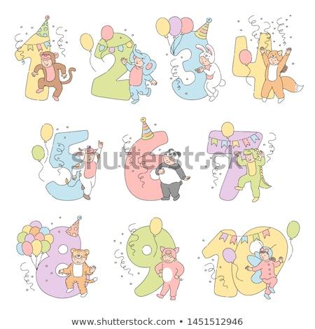 Kız maymun balon numara yedi örnek Stok fotoğraf © colematt