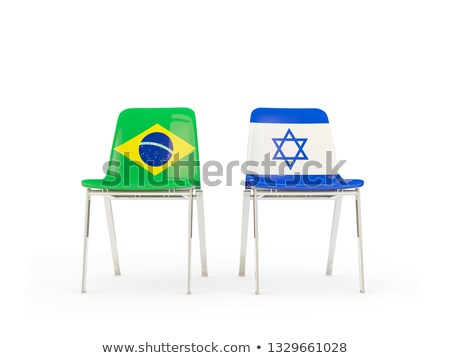 Two chairs with flags of Brazil and israel Stock photo © MikhailMishchenko
