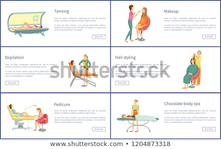 Chocolate Body Spa and Tanning Posters Set Vector Stock photo © robuart