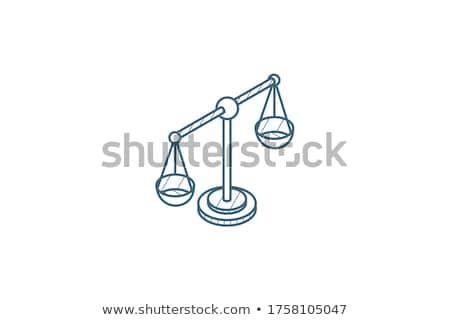 Stock fotó: Law Outline Isometric Icons