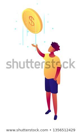 Businessman catches falling dollar coin isometric 3D illustration. Stock photo © RAStudio