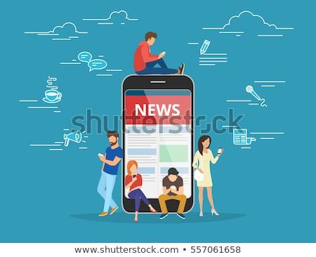 Online czytania wiadomości Internetu człowiek świat Zdjęcia stock © makyzz