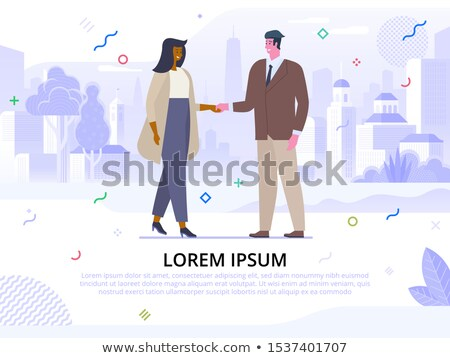Successful Business Agreement Vector Cartoon Poster Template Stock photo © pikepicture